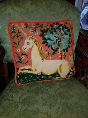"""Vintage Shabby Traditional Chic 13"""" Needlepoint Throw Pillow Unicorn Tapestry"""