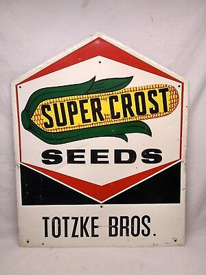 VINTAGE 1977 Super Crost Corn Agriculture Farm Feed Seed Tin Sign Old Original