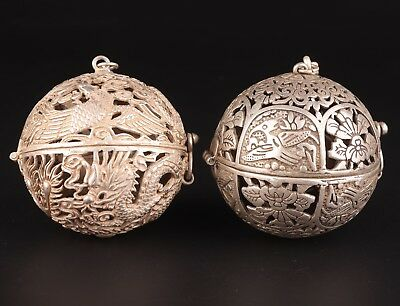 2 Tibet Silver Pendant Ball Incense Burner Hollows Out Household Adornment