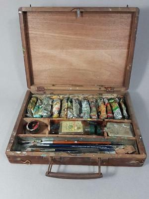 SUPERB VINTAGE ANTIQUE ARTIST PAINT BOX CASE with PALETTE oil painting