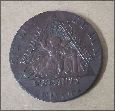 1790 Great Britain Prince of Wales elected Grand Mason ½ Penny Token - BINo