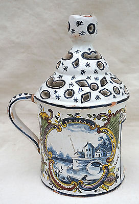 French Hand Painted Faience Candlestick Lantern Riverscape Delft Style Renoleau