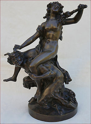 Antique French Bronze Statue Bacchanal Large Nymph and Satyr Clodion 18th C