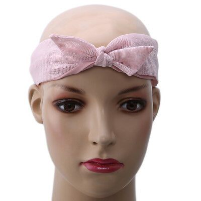Women Girls Mesh Headband Adjustable Bow Hair Head Band Wrap Hair Accessory D