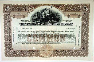 MD. Meadows Manufacturing Co., 1950s 100 Shrs Specimen Stock Certificate, XF