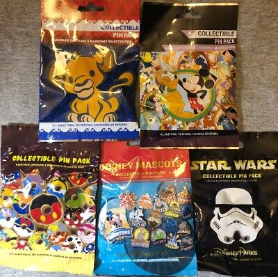 Disney Authentic 25 Pin Trading Lot Unopened Booster Pin Packs (Mixed AsShown A1