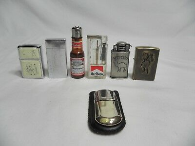 Small lot mixed of vintage lighters - marlboro, camel, and more