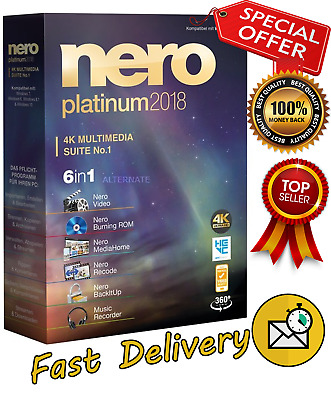 Nero 2018 Platinum Full Version CD/DVD/BluRay ✔Lifetime Activated ✔Fast Delivery