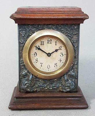 BEAUTIFUL ANTIQUE ART NOUVEAU MAHOGANY MANTLE CLOCK 1900 timepiece