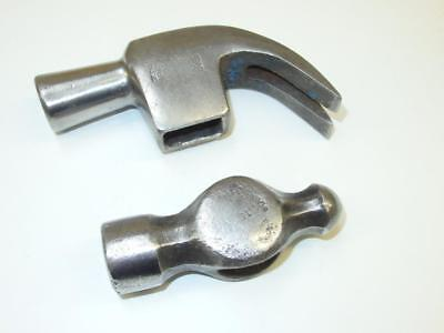 2 x Vintage Steel Hammer Heads - Claw & Ball Pein