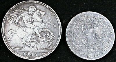 Great Britain 1900 Victoria Silver Crown and 1900 1/2 Crown