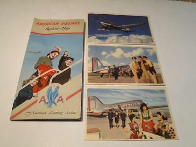 Vintage American Airlines System Map & 3 American Airlines Post Cards