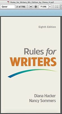 (PDF Version) Rules for Writers with Writing about Literature by Hacker, Diana