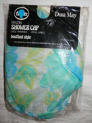 Vintage Dora May Nylon Shower Cap Lace Trimmed Vinyl Lined Bouffant Style NOS NR
