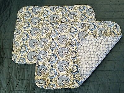 Longaberger QUILTED blue floral Placemats Set Of 2