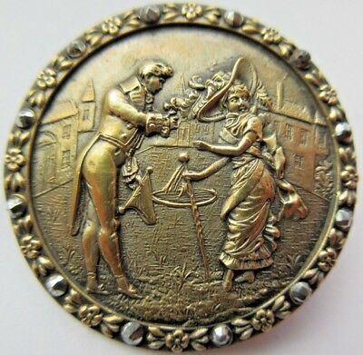 Extraordinary X LARGE Antique Metal Picture BUTTON French FOPS w/ Cut Steels (U)