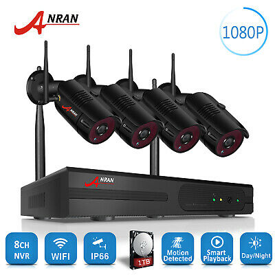 ANRAN 1080P Wireless CCTV Security Camera System 8CH NVR HDMI 1TB Outdoor IP66