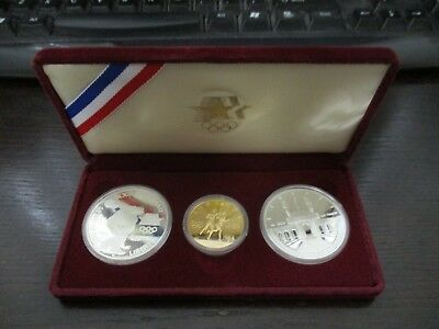 1983-1984 Olympic 3 Coin Commemorative Proof Set w/ $10 Gold & 2 Silver Dollars