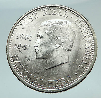 1961 PHILIPPINES with Jose Rizal Nationalist Antique Silver 1/2 Peso Coin i74490