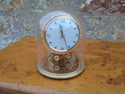 Vintage Kundo 400 Day Anniversary Clock with Key, instructions & Glass Dome