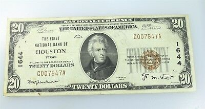 1929 $20 First National Bank of Houston C007947A, National Currency