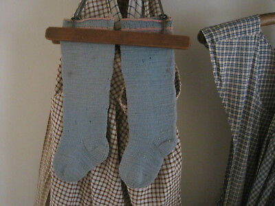 Circa 1900's Child's BLUE Wool Knit Stockings Primitive American Country Find