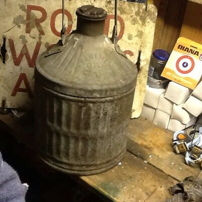 Old Vintage  Fuel Can Regent Oil Co Ltd 5 Gallon Ribbed Galvanised Tin