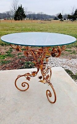 Gorgeous Vintage Italian Tole Gold Floral Metal Table / Glass Top! Mid Century!