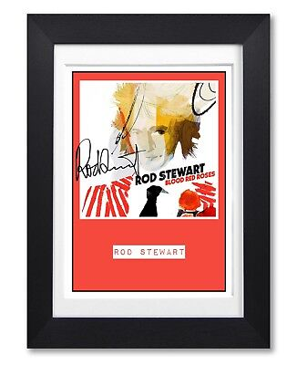 Rod Stewart Blood Red Roses Album Cover Signed Poster Print Photo Autograph Gift