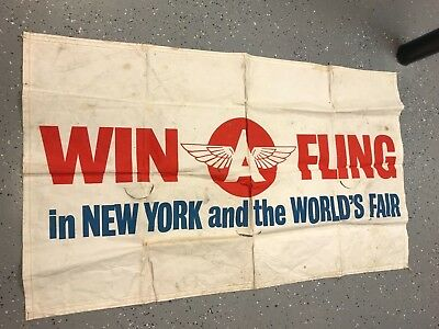 LARGE VINTAGE 1960's FLYING A CANVAS BANNER, NEW YORK WORLD'S FAIR 55X32 INCHES