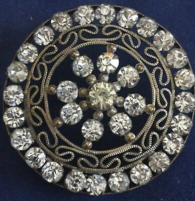 """Gorgeous Button - Paste Jewels in claw set setting - Openwork; Large 1 5/8"""""""