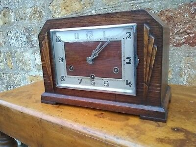 "Wooden Vintage Mantle clock westminster chimes 11.5 x 8 x 6"" - 7.5 x 5.25"" face"