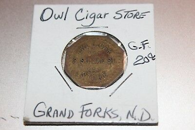 Grand Forks North Dakota Trade Token Owl Cigar Store Good for 20C