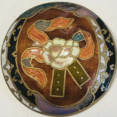 Gorgeous Large Size Antique Enamel Button - Lovely Design