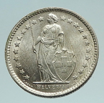 1962 SWITZERLAND SILVER 1/2 Francs Coin HELVETIA Symbolizes SWISS Nation i74524