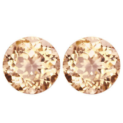 1.74Ct (2Pcs) PairCharming Round Cut 6 x 6 mm 100% Natural Pink Morganite