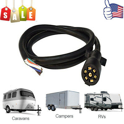 8ft 7-way inline trailer cord plug wiring harness extension wire rv camper  boat