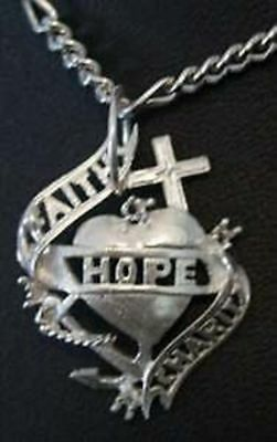 LOOK FAITH HOPE AND CHARITY Pendant charm Celtic Jewelry Sterling Silver 925