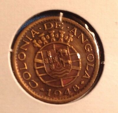 1948 world foreign coin from Angola - sharp details  L@@k