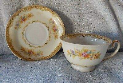 Tuillerie China Japan Cup & Saucer TUI1 Border w Floral Sprays