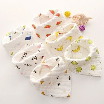 Infant Baby Boy Girl Bibs Feeding Saliva Double Snap Fastener Design Scarf Towel