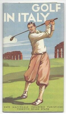 """""""Golf in Italy"""" Tourism piece.  Vintage.  Bold colors. Folds out -c. 1920's/30's"""