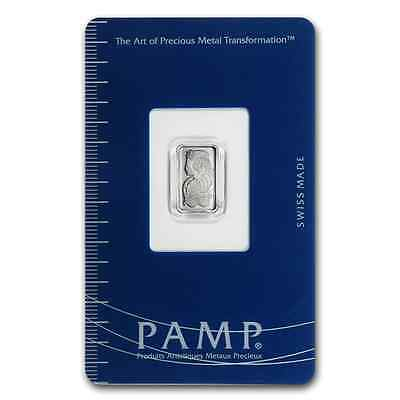 Pure Platinum ~1~Gram Pure .999 ~ Fortuna ~ Sealed Coa ~ Pamp Suisse Bar ~ $9.99