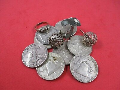 Lot of sterling silver jewelry .925 Scrap & Rare Old 90% US Half Dollar Coins
