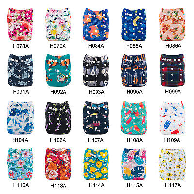 ALVABABY Reusable Baby Cloth Nappies Washable Baby Cloth Pocket Diapers Insert