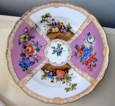 MEISSEN ANTIQUE PLATE SHALLOW BOWL VICTORIAN COURTING COUPLES CROSSED SWORDS bb