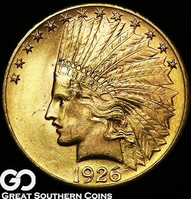 1926 Gold Eagle, $10 Gold Indian, Very Lustrous Gem BU++ ** Free Shipping!