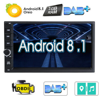 """Double 2 Din 7"""" Android 8.1 Car Stereo Radio GPS Navi No DVD Player 4G Wifi OBD2"""