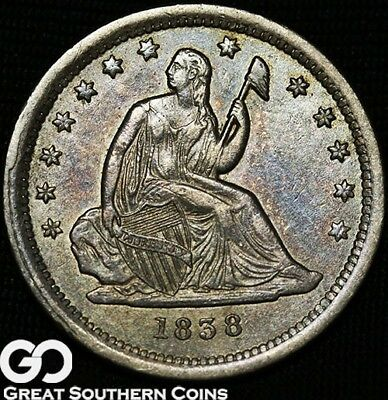 1838 Seated Liberty Quarter, Very Tough This Nice, Key Date ** Free Shipping!