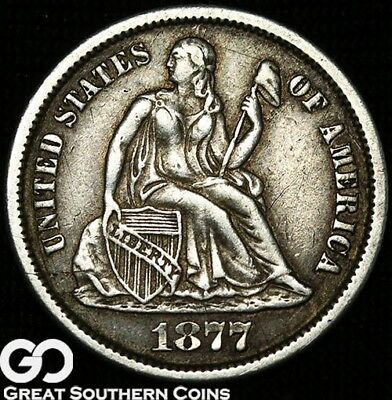1877-CC Seated Liberty Dime, Better Date Carson City Issue ** Free Shipping!